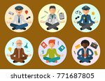 lotus position yoga pose... | Shutterstock .eps vector #771687805
