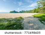 beautiful beach scenery with... | Shutterstock . vector #771698605