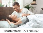 young couple morning together... | Shutterstock . vector #771701857