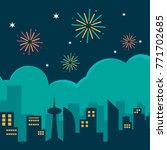 firework festival at the city | Shutterstock .eps vector #771702685