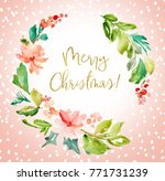 christmas wreath background....   Shutterstock . vector #771731239