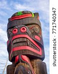 View Of Ancient Colorful Totem...