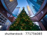 tall decorated christmas tree... | Shutterstock . vector #771756085