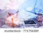 double exposure of business... | Shutterstock . vector #771756589