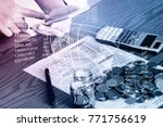 business technology people are... | Shutterstock . vector #771756619