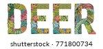 word deer. vector decorative...   Shutterstock .eps vector #771800734