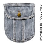 Small photo of Jeans pocket with pocket flap and metal brass buttons. Isolated on white back