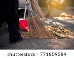 Workers Are Sweeping Leaves...