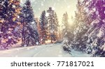 beautiful winter landscape.... | Shutterstock . vector #771817021