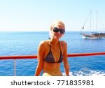 girl on a yacht  on a... | Shutterstock . vector #771835981