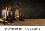 wine glass  wooden barrel and... | Shutterstock . vector #771836041