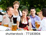 in beer garden   friends tracht ... | Shutterstock . vector #77183806