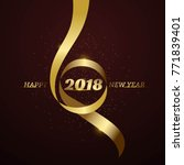 happy new year 2018 with gold... | Shutterstock .eps vector #771839401