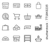 thin line icon set   shop  card ... | Shutterstock .eps vector #771843235