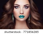 brunette girl with long and... | Shutterstock . vector #771856285