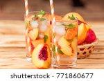 peach summer cocktail or... | Shutterstock . vector #771860677