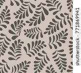 monochrome floral seamless... | Shutterstock .eps vector #771869941