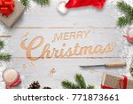 christmas carving in white... | Shutterstock . vector #771873661