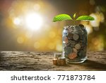 image of pile of coins with... | Shutterstock . vector #771873784