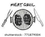 meat on the grill. grilled... | Shutterstock .eps vector #771879004