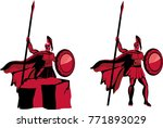 styled warriors characters ... | Shutterstock .eps vector #771893029
