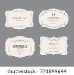 Stock vector set of vintage labels old fashion banner illustration vector 771899644