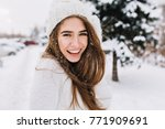 spectacular long haired woman... | Shutterstock . vector #771909691