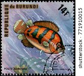 Small photo of REPUBLIC OF BURUNDI - CIRCA 1974: a postage stamp, printed in Burundi, shows a fish African Leaffish (Polycentropsis abbreviata)