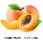 Isolated Group Of Apricots. Tw...