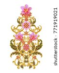 stylized golden shiny flowers... | Shutterstock . vector #771919021