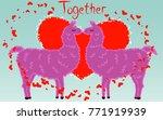 two lovers kissing llamas...   Shutterstock .eps vector #771919939