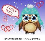lovely cartoon brown owl...   Shutterstock .eps vector #771919951