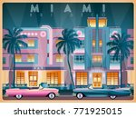evening on ocean drive in miami ... | Shutterstock .eps vector #771925015