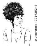 young woman with curly afro... | Shutterstock .eps vector #771925249