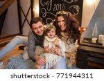 christmas family portrait.... | Shutterstock . vector #771944311
