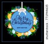 christmas lettering on tag | Shutterstock .eps vector #771944635