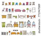 hand drawn furniture sketch...   Shutterstock .eps vector #771947089