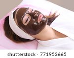 chocolate mask facial spa. | Shutterstock . vector #771953665