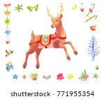 watercolor christmas set of... | Shutterstock . vector #771955354
