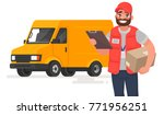 smiling man courier with parcel ... | Shutterstock .eps vector #771956251