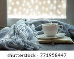 cozy winter.  white cup of hot... | Shutterstock . vector #771958447