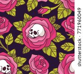 gothic floral pattern. vector... | Shutterstock .eps vector #771960049