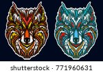 native american tribal wolf.... | Shutterstock .eps vector #771960631