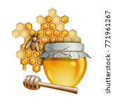 honey themed composition... | Shutterstock . vector #771961267