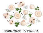 mushrooms with parsley leaf... | Shutterstock . vector #771968815