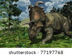 Prehistoric scene featuring an albertaceratops, a dinosaur that lived during the Late Cretaceous period. - stock photo