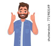 happy man shows gesture cool.... | Shutterstock .eps vector #771983149
