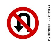 no u turn sign vector isolated | Shutterstock .eps vector #771984511