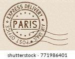 round brown postmark paris ... | Shutterstock .eps vector #771986401