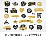 super sale labels  gold and... | Shutterstock .eps vector #771999685